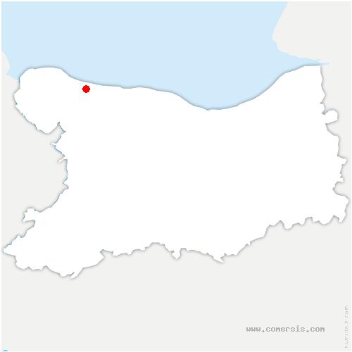 carte de localisation de Port-en-Bessin-Huppain