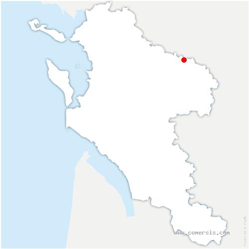 carte de localisation de Dampierre-sur-Boutonne