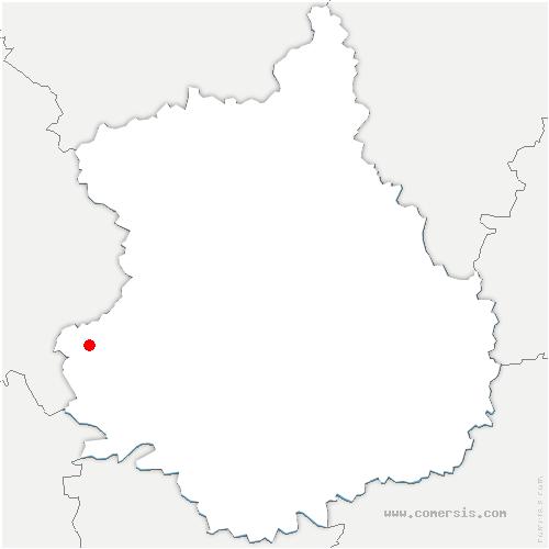 carte de localisation de Trizay-Coutretot-Saint-Serge