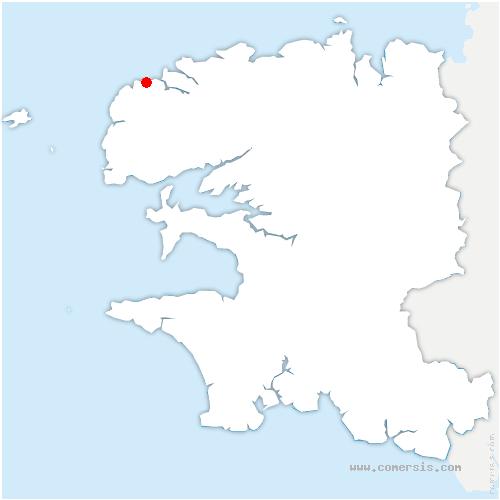carte de localisation de Lampaul-Ploudalmézeau