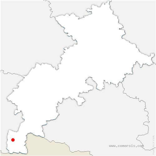 carte de localisation de Cazeaux-de-Larboust