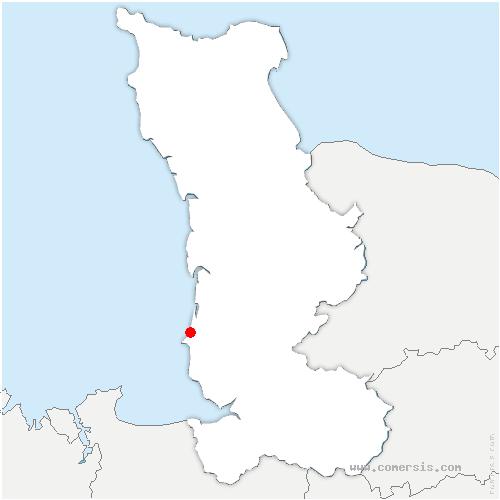 carte de localisation de Donville-les-Bains